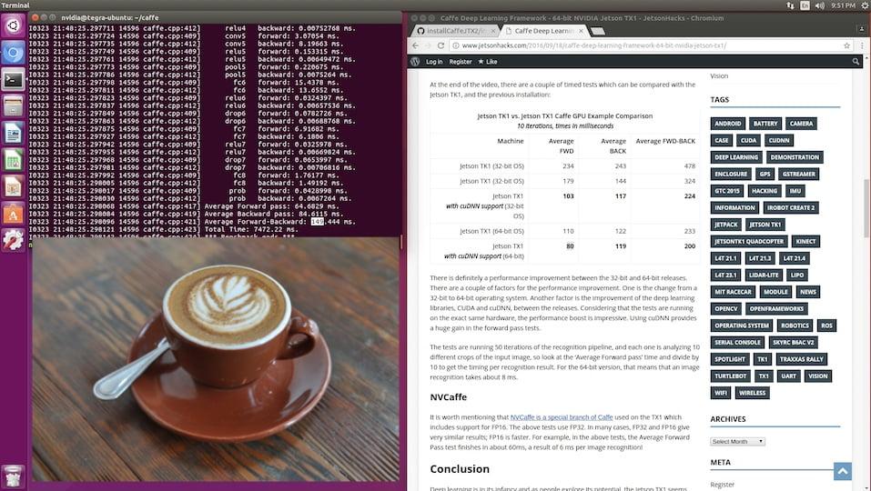 Jetsonhacks — Caffe Deep Learning Framework - NVIDIA Jetson TX2